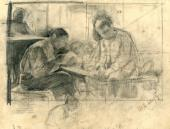 """Sketch for the painting """"Letter from Home"""". 1888"""