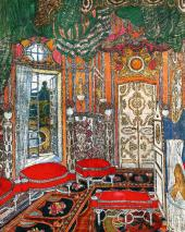 """Countess's Bedroom. Set design for """"The Marriage of Figaro, or The Day of Madnes"""