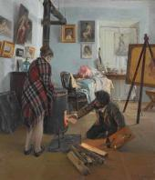 Illarion Prianishnikov. In the Artist's Studio. 1890