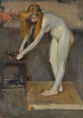 Nikolai Ulyanov. Nude Female Model. In the Studio of V.A. Serov. 1902