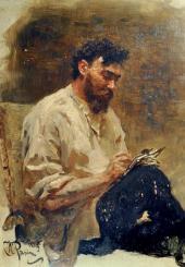 Ilya Repin. Portrait of Ivan Pokhitonov. 1889