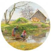 Laundresses at the Pond. Zhabovshchizna. 1900s