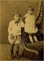 Nikolai and Anastasia, the artist's grandchildren. Photograph by Przhilusky. 1889