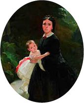 Portrait of Shestova with Her Daughter. 1859