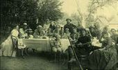 Leo Tolstoy with his relatives and acquaintances, Nikolai Ge among them. Yasnaya Polyana. 1888
