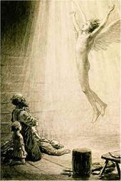 """Wings appeared upon the angel's shoulders, and he rose into the heavens"". 1886"