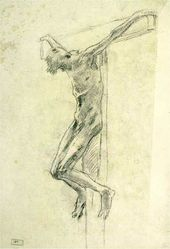 The sitter in the posture of crucified Christ