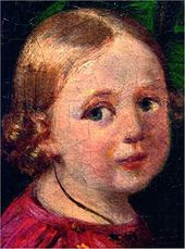 Portrait of an Unknown Woman with Children. 1840. Portrait of the Son. Detail