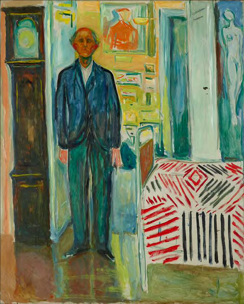 Edvard Munch. Self Portrait between the Clock and the Bed, 1940–43