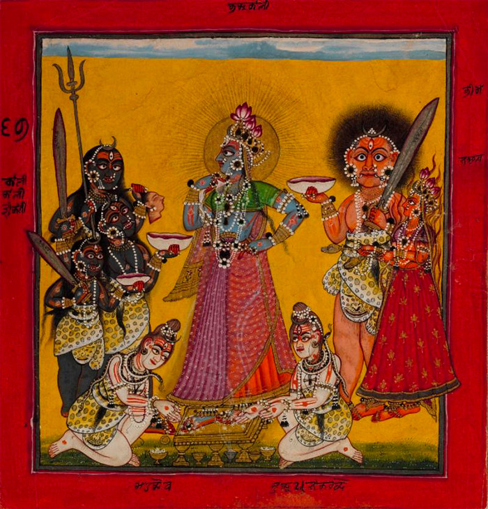 Attributed to the Master of the Early Rasamanjari. Devi in the Form of Bhadrakali Adored by the Gods, folio from a dispersed