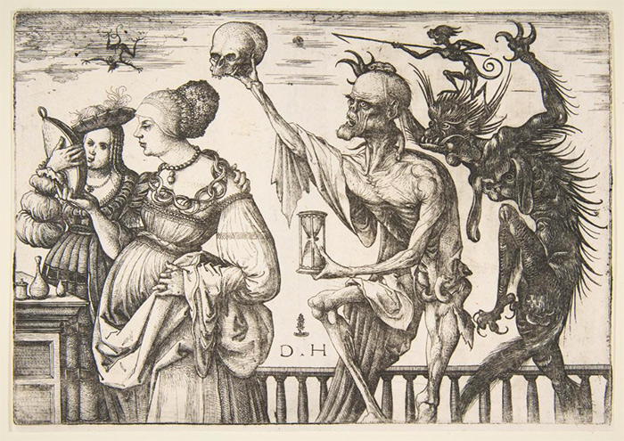 Daniel Hopfer (German, 1471–1536). Death and the Devil Surprising two Women, ca. 1500–1510