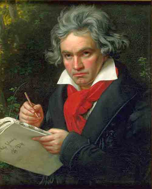 Joseph Karl Stieler. Beethoven with the manuscript of the Missa solemnis, 1820