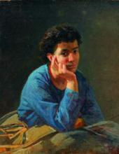 Portrait of Unknown Woman in a Blue Shirt. 1868
