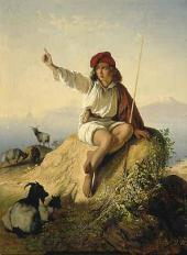 Timofei NEFF. Neapolitan Shepherd at the Seaside in the Light of the Rising Sun.