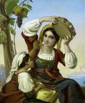 Unknown artist. Neapolitan Women Against the Background of Vesuvius. 1850s