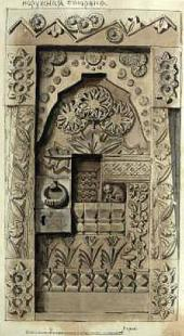 "Sketch for the exterior of the ""Skazochnaya"" [Fairy tale] door for the carpentry"