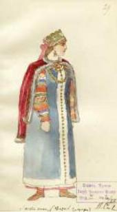 "Vladimir SIZOV. Sketch of a woman's costume for Mikhail Glinka's opera ""Ivan Sus"