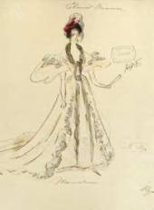 "Varvara BUSHINA. Sketch of a costume for Tchaikovsky's opera ""Eugene Onegin"". Ta"