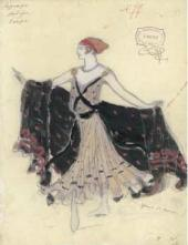 "Vasily DYACHKOV. Sketch of a woman's costume for Adolphe Adam's ballet ""Le Corsa"