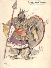 Konstantin KOROVIN. Tsar Dodon. Costume sketch for the Bolshoi Theatre productio