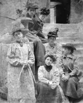 Anna Golubkina with a group of artists. Paris. Photo. 1895