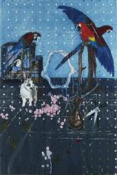 Three Parrots with Rabbit and Scissors. 2010