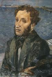Kuzma PETROV-VODKIN. Portrait of Alexander Pushkin. 1934