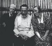 MIKHAIL NESTEROV, SERGEI DURYLIN AND IRINA KOMISSAROVA-DURYLINA. 1938. Bolshevo.