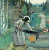 THE LABOURS OF ST. SERGIUS. 1896-1897. TRIPTYCH. CENTRAL PART
