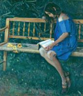 NATASHA NESTEROVA (ON A GARDEN BENCH). 1914