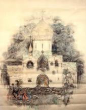 ALEXEI SHCHUSEV. ARCHITECTURAL DRAWING OF THE CHURCH OF THE INTERCESSION