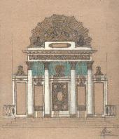 ALEXEI SHCHUSEV. LAYOUT FOR THE CENTRAL ICONOSTASIS FOR THE TRINITY CATHEDRAL IN