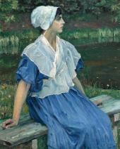 YOUNG GIRL BY THE POND (PORTRAIT OF NATALYA NESTEROVA). 1923 DETAIL