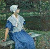 YOUNG GIRL BY THE POND (PORTRAIT OF NATALYA NESTEROVA). 1923