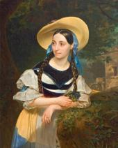 KARL BRIULLOV. PORTRAIT OF THE SINGER FANNI PERSIANI. 1834