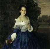 KONSTANTIN SOMOV. LADY IN A BLUE DRESS. PORTRAIT OF YELIZAVETA MARTYNOVA (1868-1