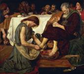 FORD MADOX BROWN. JESUS WASHING PETER'S FEET. 1852-1856