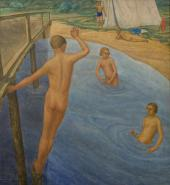 NIKOLAI SEKIRIN (1899-1962) YOUNG PIONEER'S CAMP. SWIMMING. 1927