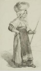 ITALIAN WOMAN CARRYING A BUNDLE ON HER HEAD (ITALIAN WOMAN FROM OLEVANO). LATE 1