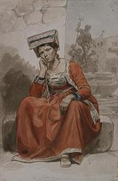 ITALIAN WOMAN FROM NETTUNO. 1828-1829. ITALIAN SITTERS IN TRADITIONAL COSTUMES