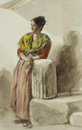 ITALIAN WOMAN IN A YELLOW SHAWL. 1832. THE ITALIAN ALBUM