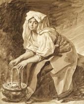 ITALIAN WOMAN WARMING HER HANDS OVER HOT COAL. LATE 1820S. THE ITALIAN ALBUM