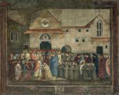 BICCI DI LORENZO (1373-1452). POPE MARTIN V CONSECRATES THE CHURCH OF SANT'EGIDI