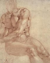 MICHELANGELO BUONARROTI. SEATED MALE NUDE AND STUDIES FOR TWO ARMS. Detail