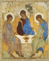 THE OLD  TESTAMENT TRINITY. 1420s. MOSCOW. ANDREI RUBLEV (c. 1360-1430)