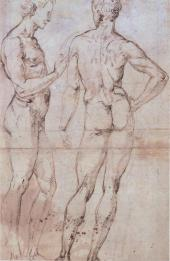 RAPHAEL. TWO FULL-LENGTH STUDIES OF MALE NUDES: ONE – SIDE VIEW, THE OTHER – BAC