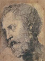 "RAPHAEL. STUDY FOR THE HEAD OF APOSTLE FOR THE FRESCO ""TRANSFIGURATION"". 1519-15"
