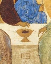 THE OLD TESTAMENT TRINITY. 1420S. MOSCOW ANDREI RUBLEV (c. 1360-1430). The detai