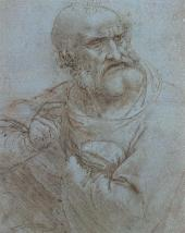 "LEONARDO DA VINCI. APOSTLE. 1493-1495. STUDY FOR ""THE LAST SUPPER"" FRESCO IN MIL"