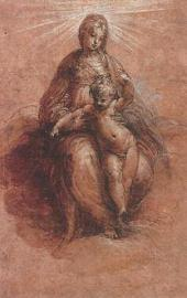 PARMIGIANINO (FRANCESCO MAZZOLA). MARY IN THE CLOUDS WITH THE CHILD. SKETCH FOR